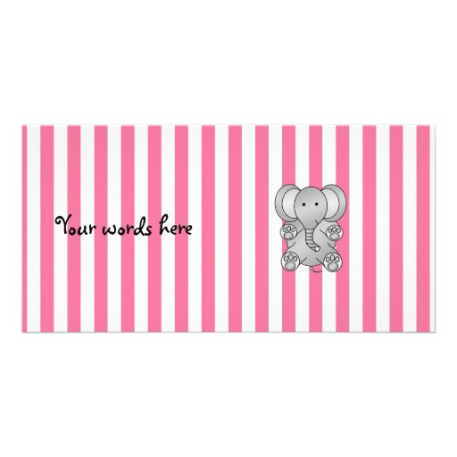 Cute elephant pink and white stripes personalized photo card