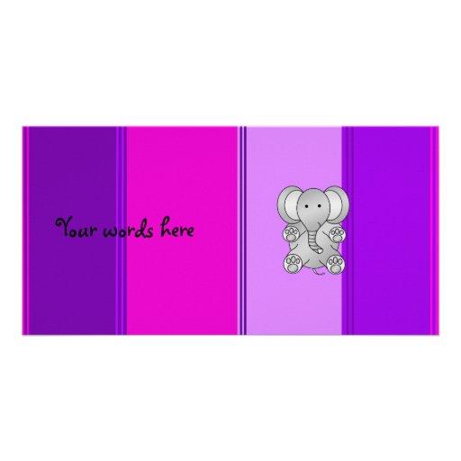 Cute elephant pink purple stripes photo card
