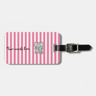 Cute elephant pink white stripes bag tag