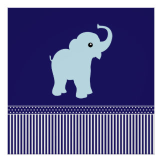 Cute elephant polka dots & stripes poster, print