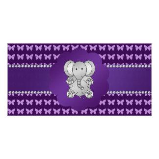 Cute elephant purple butterflies customized photo card