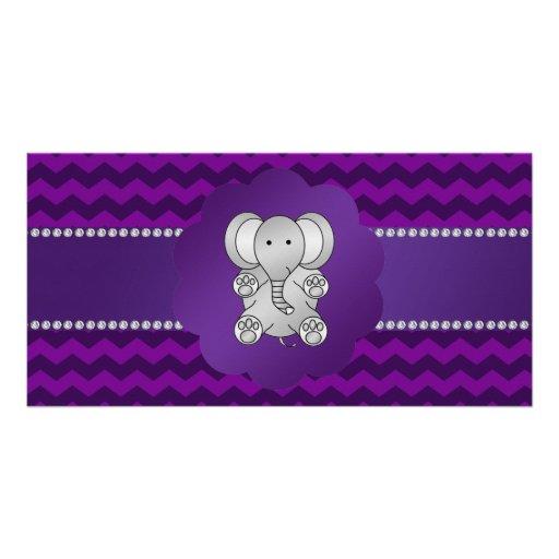 Cute elephant purple chevrons photo greeting card