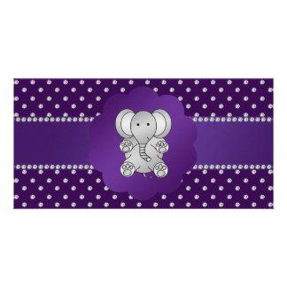 Cute elephant purple diamonds customized photo card