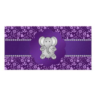 Cute elephant purple flowers customized photo card