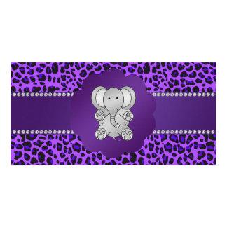 Cute elephant purple leopard custom photo card
