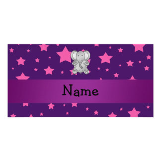 Cute elephant purple pink stars picture card