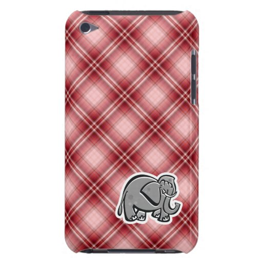 Cute Elephant; Red Plaid iPod Touch Case-Mate Case