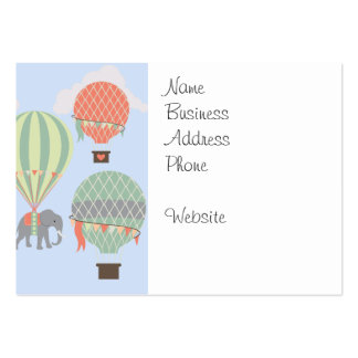 Cute Elephant Riding Hot Air Balloons Rising Business Card Templates