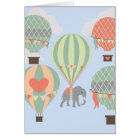 Cute Elephant Riding Hot Air Balloons Rising Card
