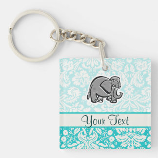 Cute Elephant; teal Double-Sided Square Acrylic Key Ring