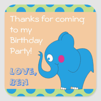 Cute Elephant Thank You Birthday Party Stickers