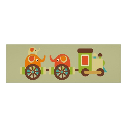 Cute Elephant Train Poster Wall Decor for Kids