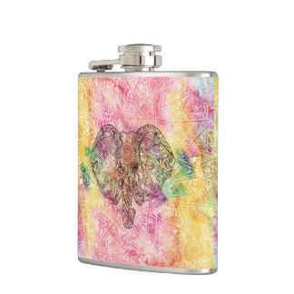 Cute Elephant Watecolor hand drawn Henna floral Hip Flask