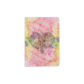 Cute Elephant Watercolor hand drawn Henna floral Passport Holder