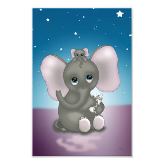 Cute Elephant with Baby Photographic Print