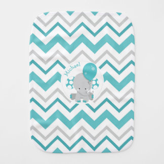 Cute Elephant with Balloon Personalized Burp Cloth
