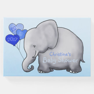 Cute Elephant with Balloons Blue Baby Shower Guest Book