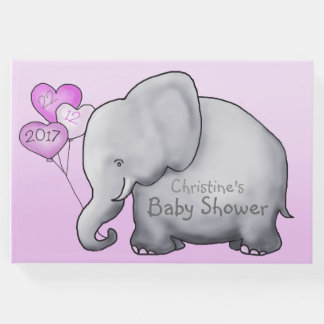 Cute Elephant with Balloons Pink Baby Shower Guest Book