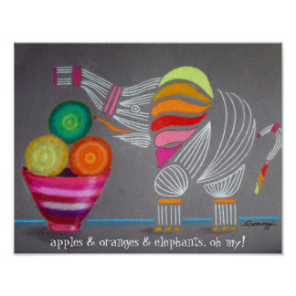 Cute Elephant with Fruit Bowl--Orig. Art Poster