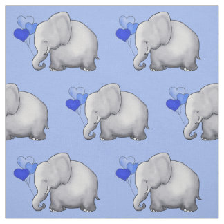 Cute Elephant with Heart Balloons Baby Boy Nursery Fabric