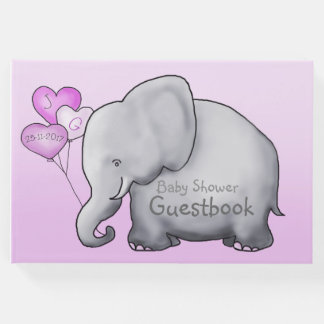 Cute Elephant with Heart Balloons Baby Shower Pink Guest Book