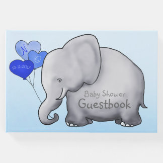 Cute Elephant with Heart Balloons Blue Baby Shower Guest Book