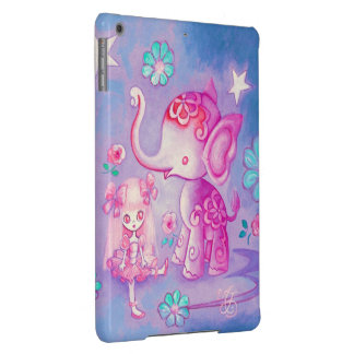 Cute Elephant With Pink Haired Girl Case For iPad Air