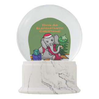 Cute Elephantastic Christmas Slogan Elephant Snow Globe