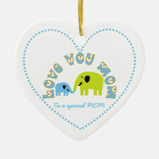 Cute Elephants Mother Child Mother's Day gift Ceramic Heart Decoration