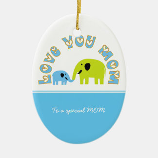 Cute Elephants Mother Child Mother's Day gift Ceramic Oval Decoration