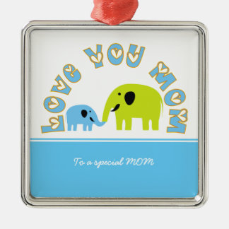 Cute Elephants Mother Child Mother's Day gift Silver-Colored Square Decoration