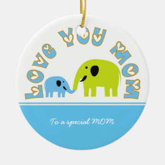 Cute Elephants Mother Child Mother's Day gift Round Ceramic Decoration