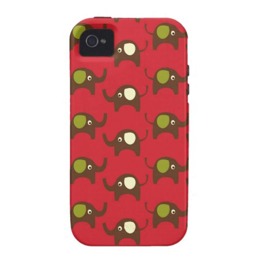 Cute Elephants Pattern Brown Green Cream on Red iPhone 4 Case