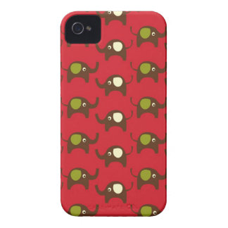 Cute Elephants Pattern Brown Green Cream on Red Case-Mate iPhone 4 Cases