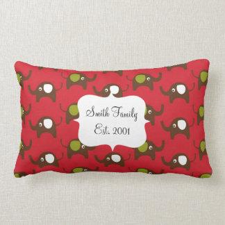 Cute Elephants Pattern Brown Green Cream on Red Throw Cushions