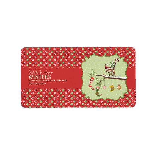 Cute Elf and Christmas Socks Address Label