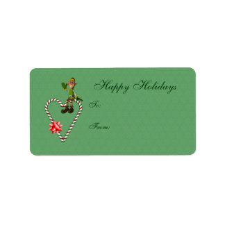 Cute Elf Candy Cane Heart Holiday Gift Tag Address Label