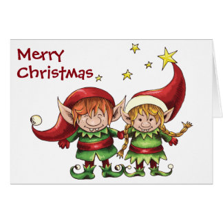 Cute Elf Couple Merry Christmas Greeting Card