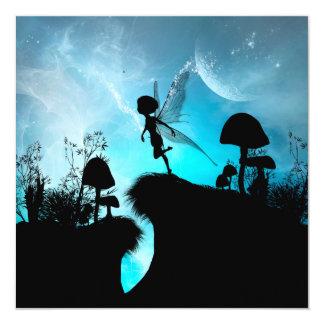 Cute elf flying in the night 13 cm x 13 cm square invitation card