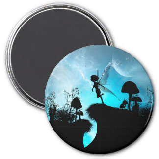 Cute elf flying in the night 7.5 cm round magnet
