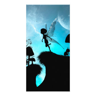 Cute elf flying in the night photo greeting card
