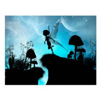 Cute elf flying in the night postcard