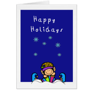 cute elf in the snow happy holidays greeting card