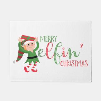 Cute Elf Merry Elfin Christmas Doormat