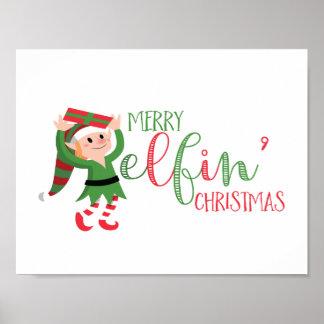 Cute Elf Merry Elfin Christmas Poster