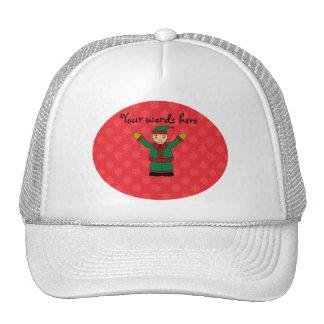 Cute elf red snowflakes trucker hats