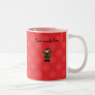 Cute elf red snowflakes mugs