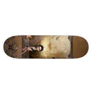 Cute elf sitting and flying on a frame custom skateboard
