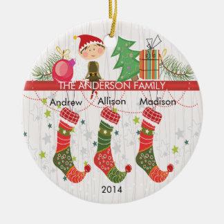 Cute Elf Stockings Family of 3 Christmas Ornament Christmas Ornament