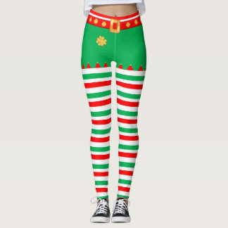 Cute elf striped leggings